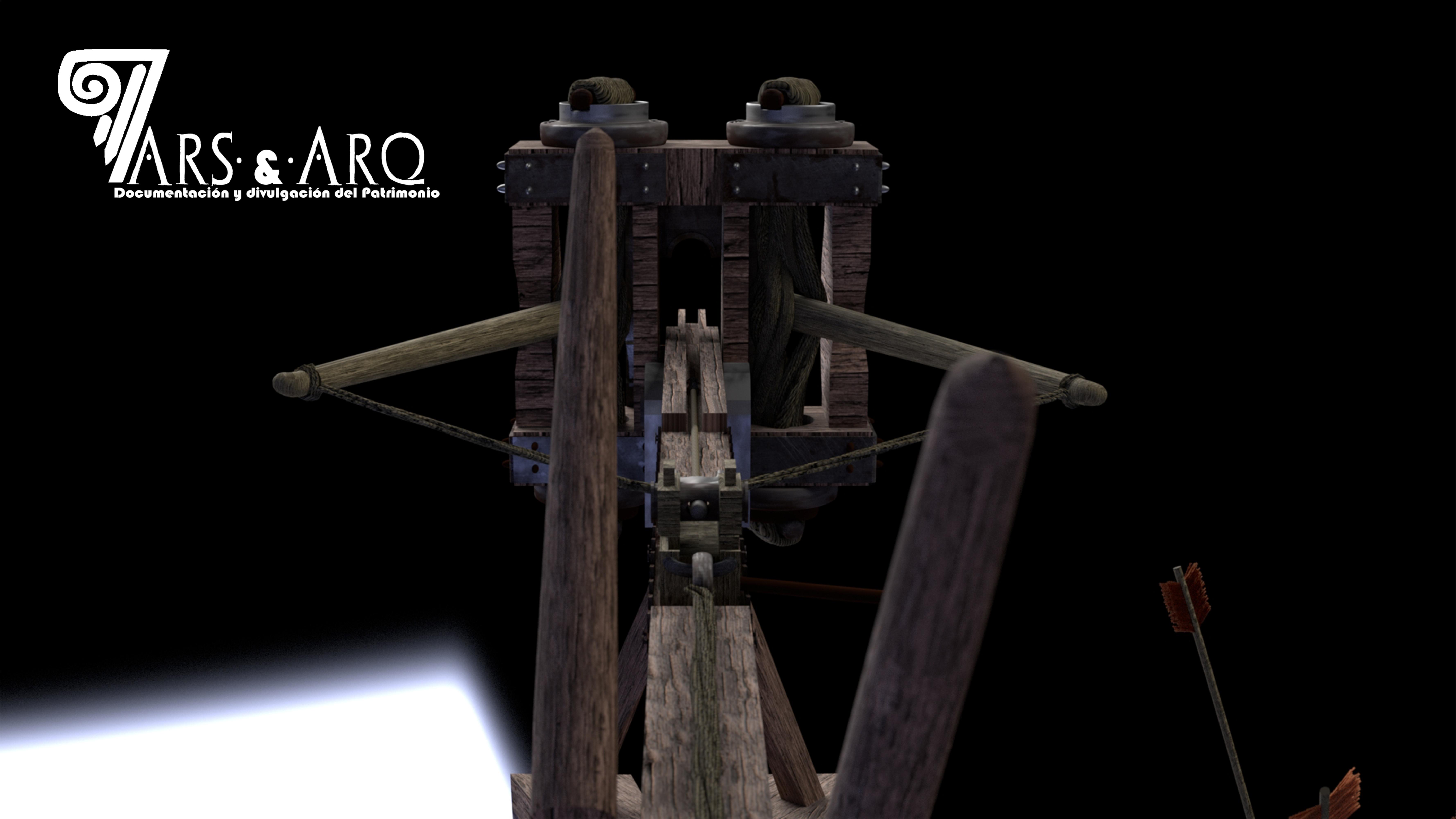 Reconstrucción virtual de como vería un romano el scorpio en el momento de lanzar la flecha al enemigo.