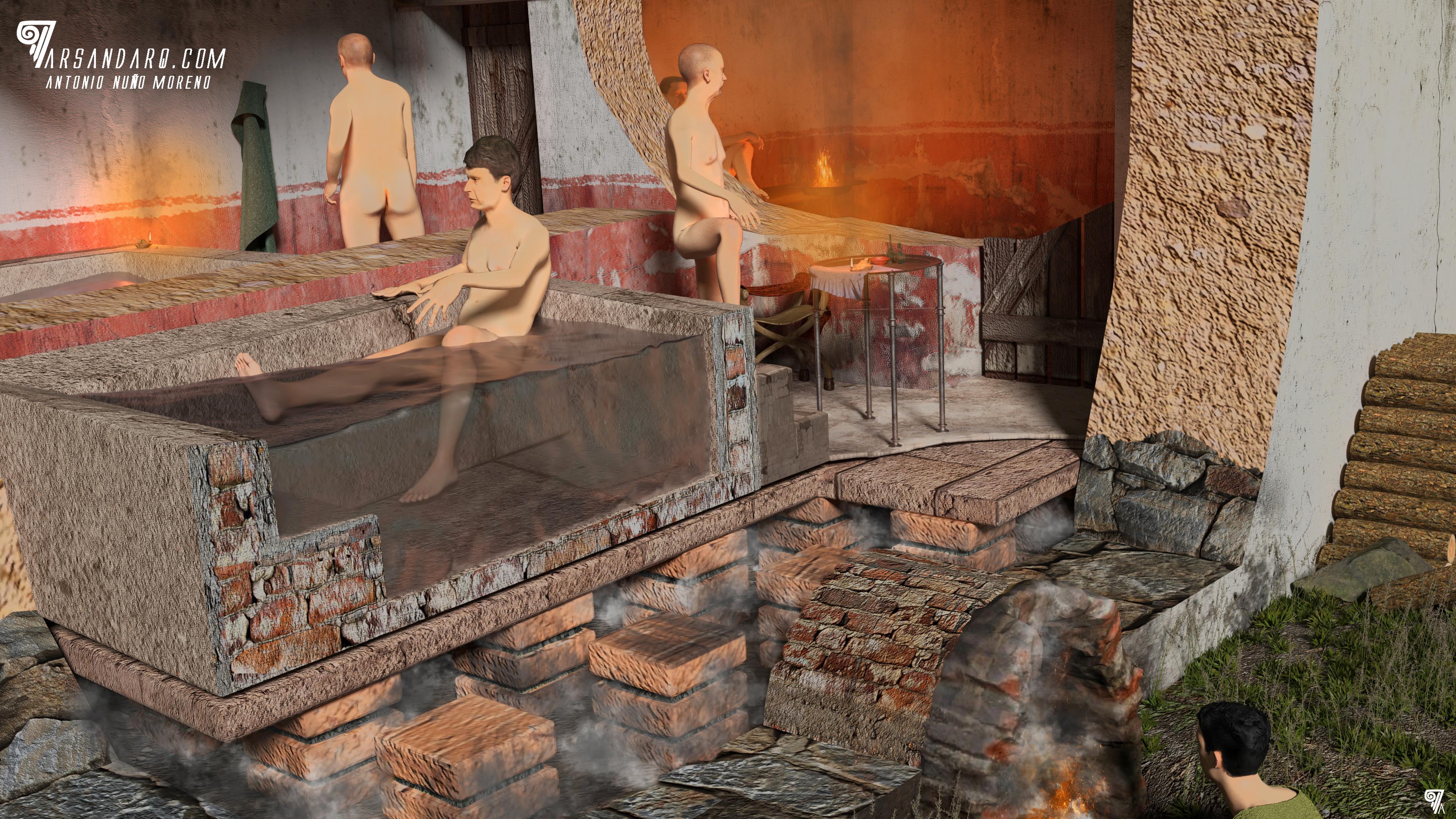 Detalle del funcionamiento del Hyppocaustum. Fase III. Siglo III-IV d.C.